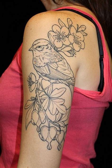 bird quarter sleeve tattoo feminine flower tattoos for women