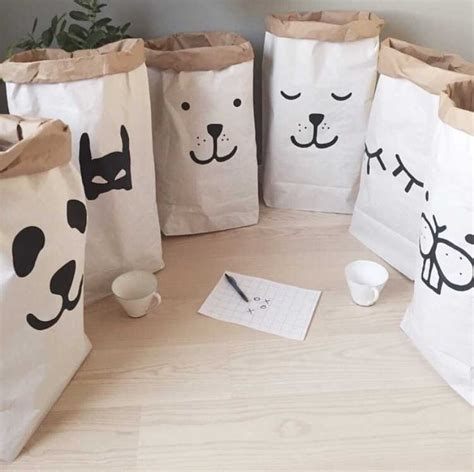 Kraft Paper Storage Bag kraft paper storage bag baby animal letter toys