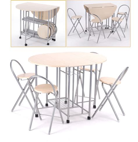 Folding Kitchen Table And Chairs Set Extending Dining Table And 4 Chairs Small Kitchen Folding Drop Leaf Dining Set Ebay