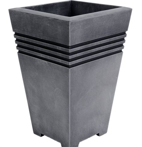Plastic Planters Uk by Strata Square Plastic Garden Planter Pewter