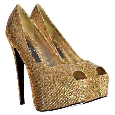 gold high heel sneakers onlineshoe sparkly shimmer glitter peep toe stiletto