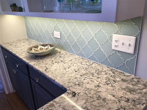 Kitchen Images White Cabinets by Jasper Blue Gray Arabesque Glass Mosaic Tiles Rocky