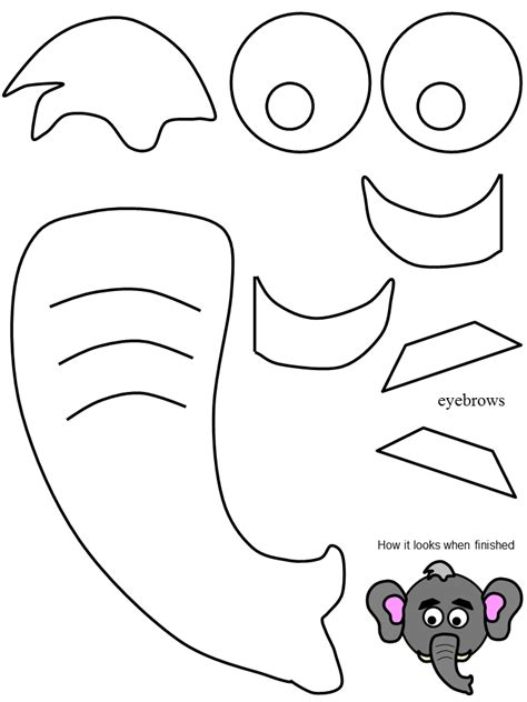 elephant cut out template paper plate elephant clipart