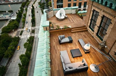 rooftop patio rooftop patio design ideas with wood flooring by dedon