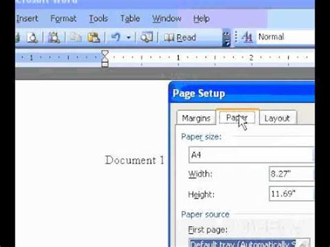 Microsoft Office Word 2003 Select A Paper Size Youtube What Is A Template In Microsoft Word