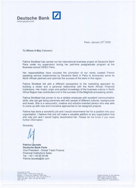 cover letter deutsche bank recommendation patrice lacoste vp global trade finance db