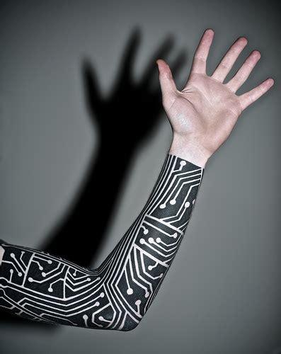 electronic tattoos electronic inspired blackwork sleeve flickr