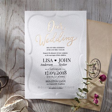 Embossed Wedding Invitations by Embossed Frame A Modern Gold Foiled Wedding Invitation