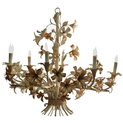 Large Metal Chandelier Large Floral Painted Metal Eight Chandelier At 1stdibs