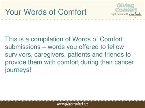 words of comfort for cancer journeys