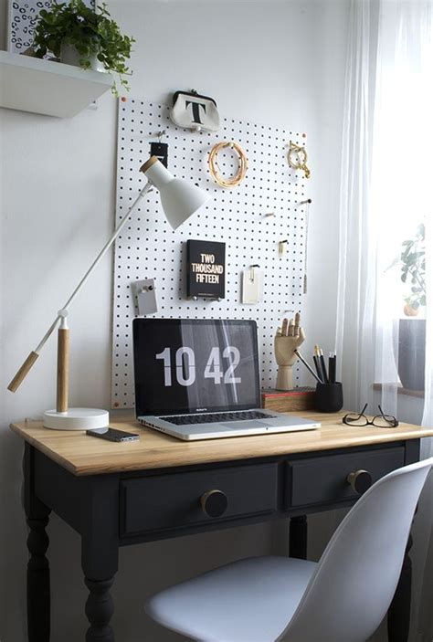 awesome Home Office Desk Ideas #3: 20-white-pegboard-with-hooks-for-storage-over-the-desk.jpg