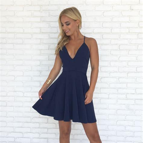 Enfocus Blue Flowers Vneck Dress Original straps v neck navy blue homecoming dress 183 modsele 183 store powered by storenvy