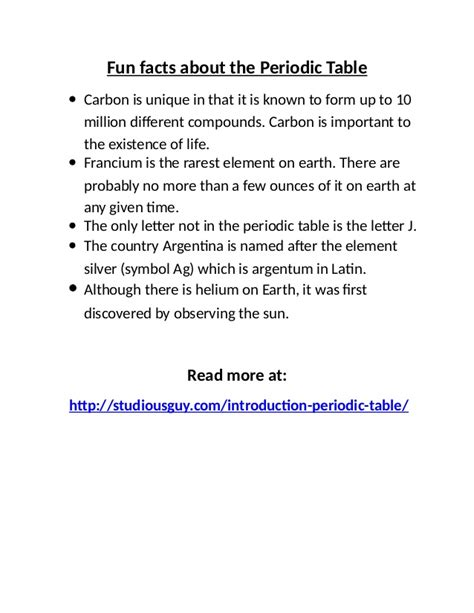 fun facts about the periodic table periodic table fun facts brokeasshome com