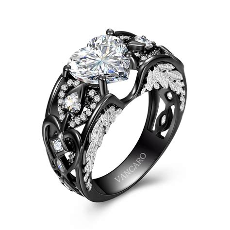 Black Ring by Wing Black Ring For With Cut Cz And