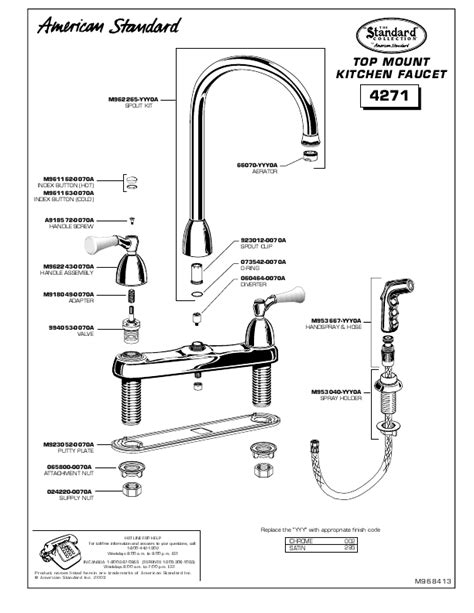 american standard kitchen faucet parts diagram american standard indoor furnishings 4271 user s guide