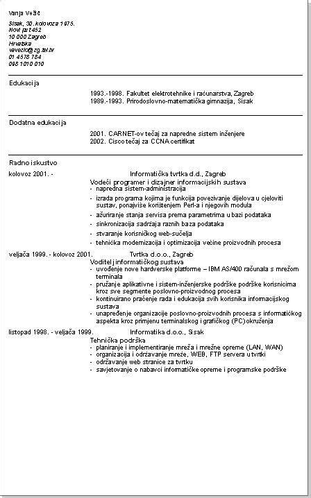 inženjer elektrotehnike životopis cv primjer info