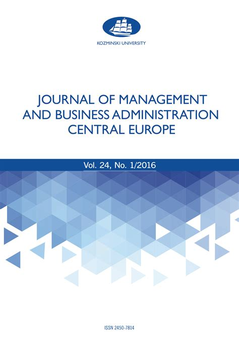 Central European Mba by Management Business Finance Subject De Gruyter Open