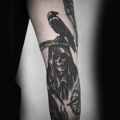 grim reaper forearm tattoo 100 designs for black bird ink ideas