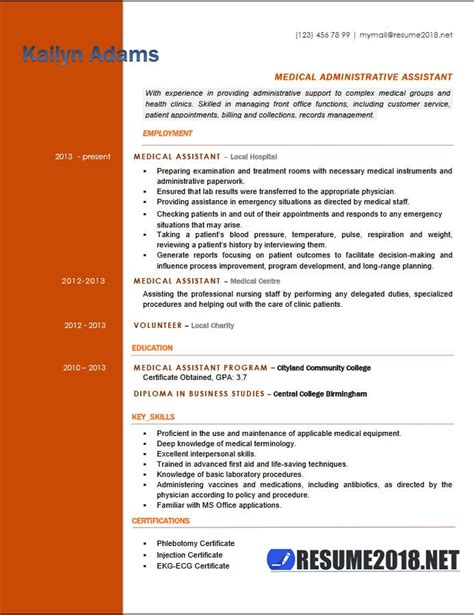 Medical Assistant Resume Exles 2018 Six Templates In Docx Format Assistant Resume Template