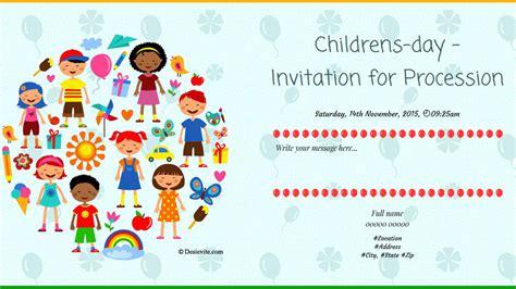 Children S S Card Template by Free Children S Day Invitation Card Invitations