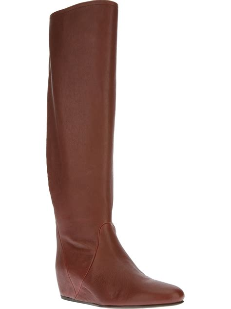 wedge knee boots lanvin concealed wedge knee high boot in brown lyst