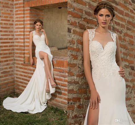 wedding dresses with thigh high slits 2016 new thigh high slits wedding dresses
