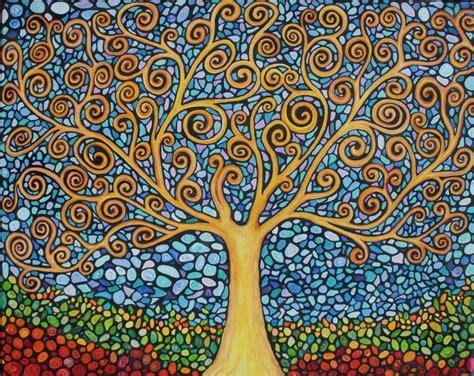 abstract tree pattern my tree of life original painting print mosaics