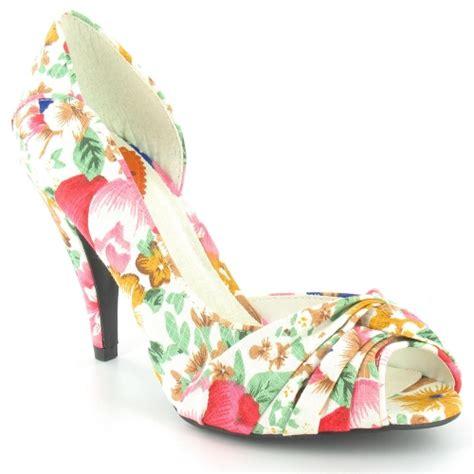 rocket ownit peep toe floral print court shoes