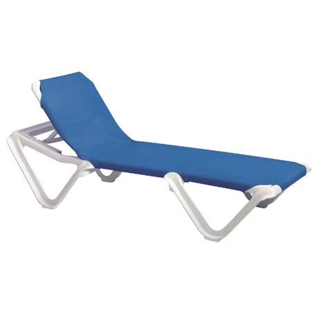 Grosfillex Lounge Chairs by Grosfillex Nautical Adjustable Resin Sling Chaise Lounge