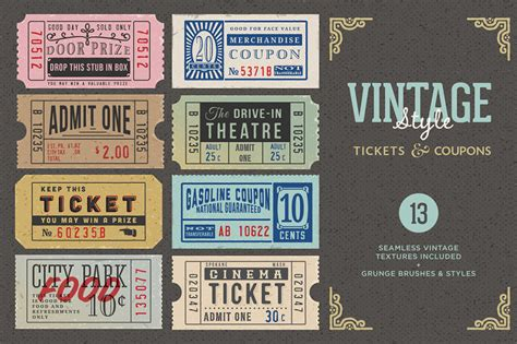 vintage ticket coupons bundle design cuts design cuts