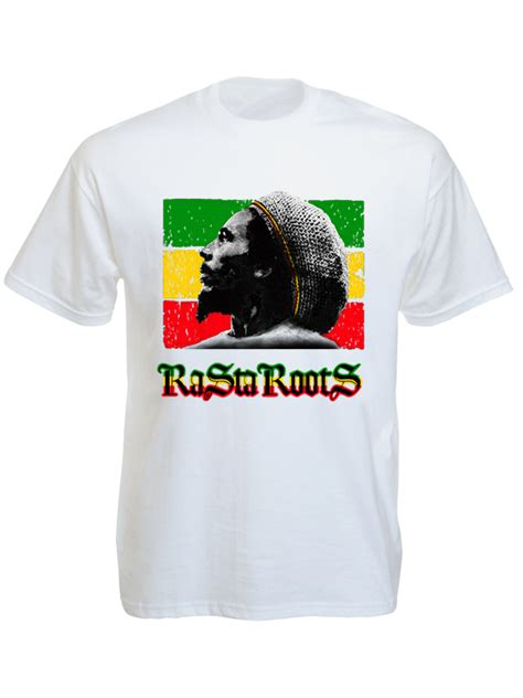 T Shirts Bob Marley Rasta shirt bob marley blanc avec inscription rasta roots