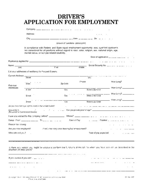 free truck driver application template employment application template for truck driver