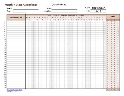 monthly attendance record template 9 monthly attendance sheet templates excel templates