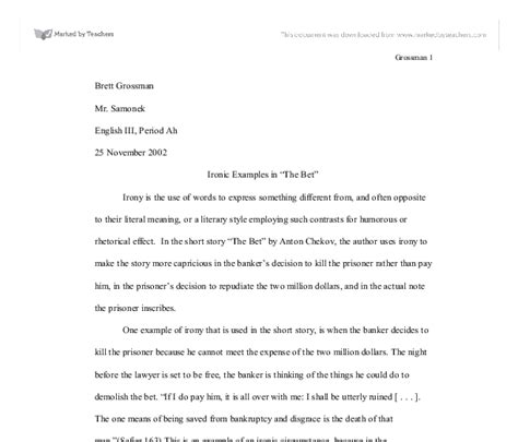 The Bet By Anton Chekhov Theme Essay by Ironic Exles In Quot The Bet Quot Gcse Religious Studies Philosophy Ethics Marked By Teachers