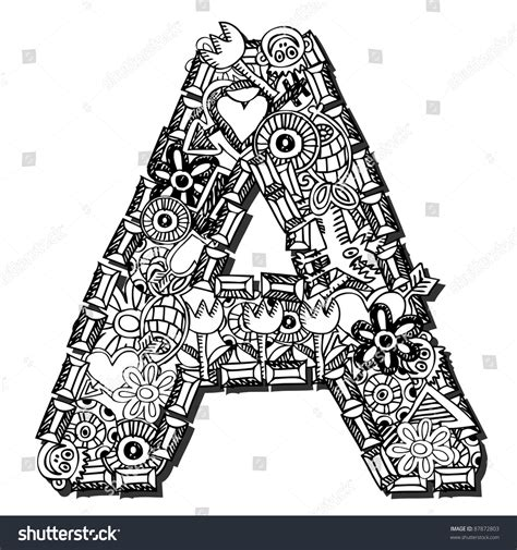 doodle huruf a z childlike doodle abc letter a isolated on white
