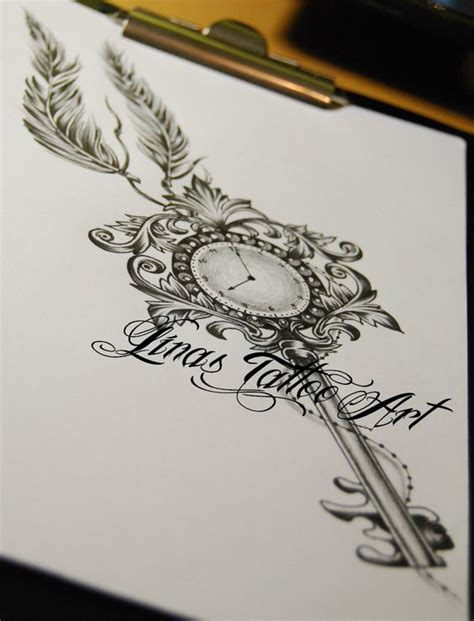 tattoo feather clock key and clock tattoos google search tattoos