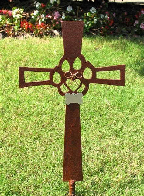 metal garden stakes yard cat memorial cross metal garden stake 2 gardens yard