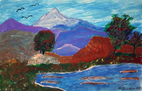 mountain landscape painting by rudolph s