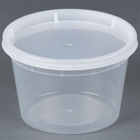 16 oz microwavable translucent plastic deli container