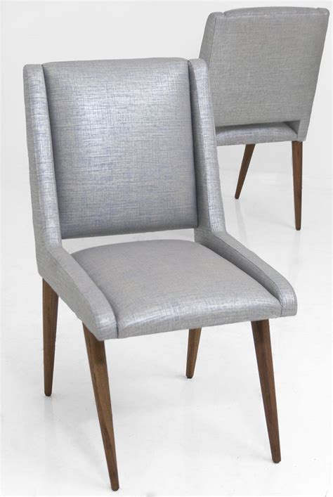 Linen Dining Room Chairs Mid Century Dining Chair In Metallic Silver Linen Ennabe