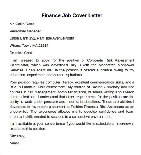 Finance Position Cover Letter Sle Cover Letter Exles 12 Free Documents In Pdf Word Psd
