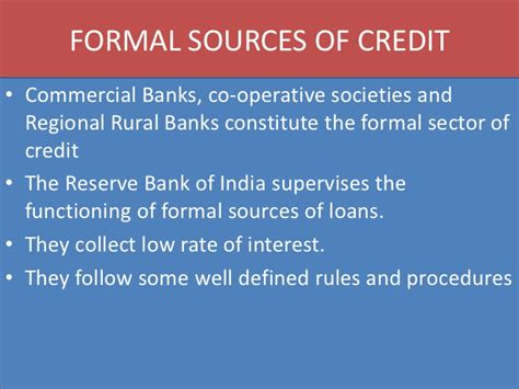 Formal Commercial Credit Program Money And Credit Cbse Class X