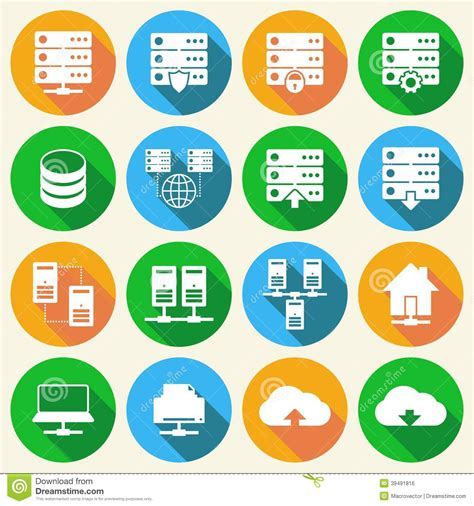 hosting technology icons set stock vector image
