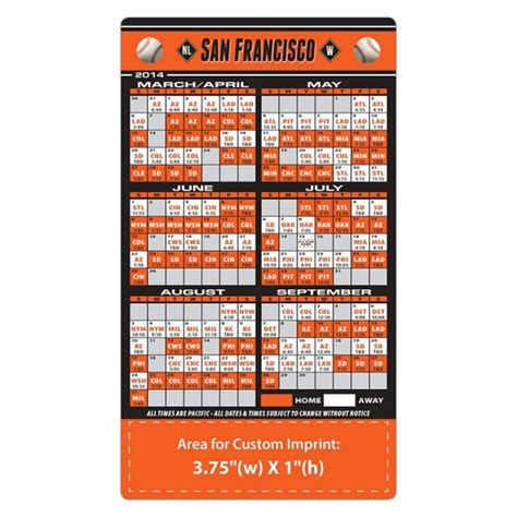 san francisco giants baseball team schedule magnets 4 quot x 7