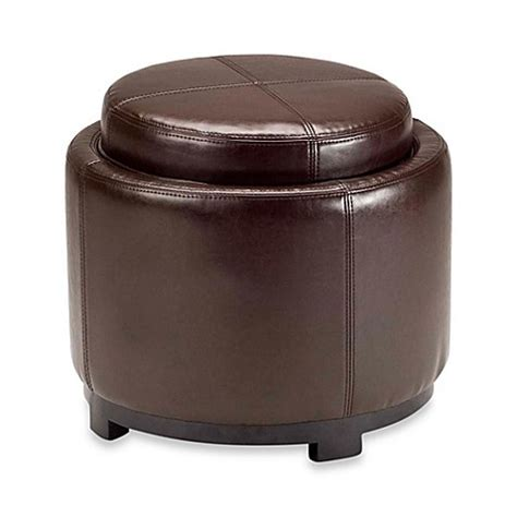 safavieh hudson leather chelsea tray ottoman www bedbathandbeyond buy safavieh hudson leather chelsea tray ottoman in brown from bed bath beyond