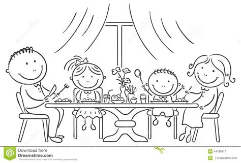 family meal coloring page family having meal together stock vector illustration of