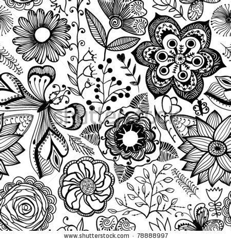 black and white butterfly pattern seamless texture with flowers and butterflies endless