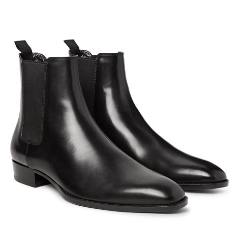 laurent mens chelsea boots laurent polished leather chelsea boots in black for