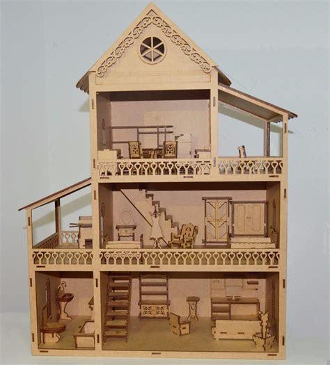 da casa casa de boneca em mdf cru polly completa para pintar r