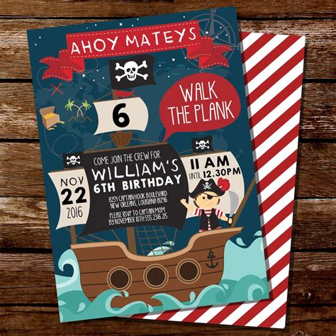 Pirate Birthday Party Invitation For A Boy Pirate Ship Invite Sunshine Parties Pirate Birthday Invitation Template